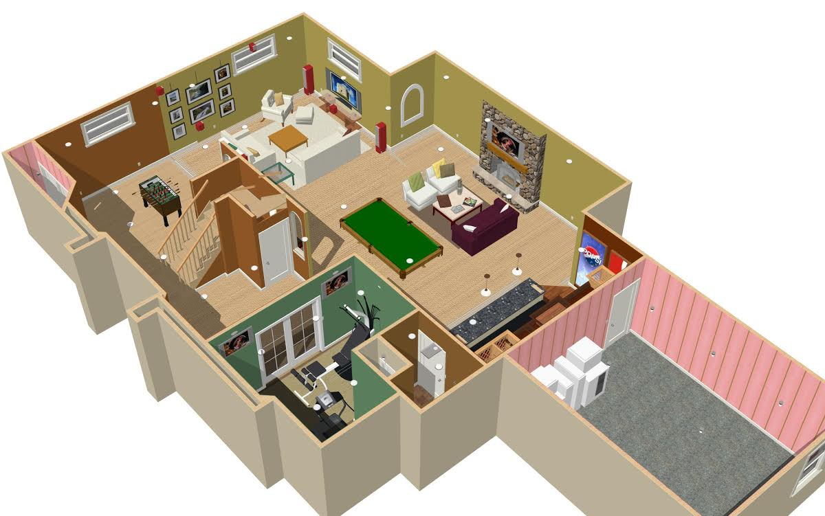 3d basement gallery basement remodeling chicago area for Basement planner online