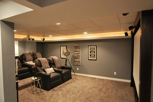 Home Theater in Hoffman Estate Basement